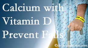 Calcium and vitamin D supplementation may be recommended to Fernandina Beach chiropractic patients who are at risk of falling.