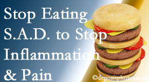 Fernandina Beach chiropractic patients do well to avoid the S.A.D. diet to reduce inflammation and pain.