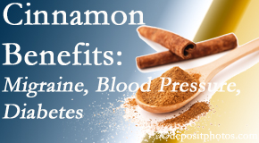 Amelia Chiropractic Clinic shares research on the benefits of cinnamon for migraine, diabetes and blood pressure.