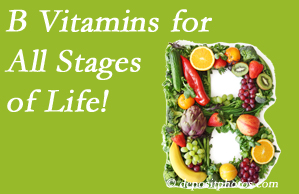 Amelia Chiropractic Clinic suggests a check of your B vitamin status for overall health throughout life.