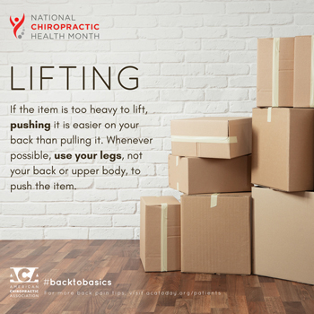 Amelia Chiropractic Clinic advises lifting with your legs.