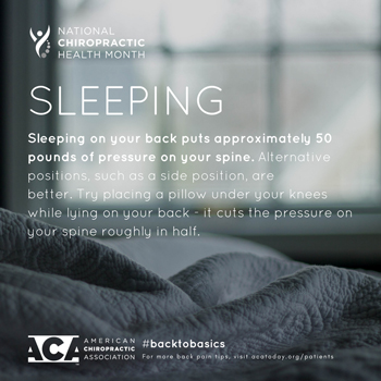 Amelia Chiropractic Clinic recommends putting a pillow under your knees when sleeping on your back.